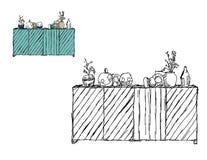Illustration tirée de vecteur d'un style de croquis illustration libre de droits