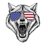 Illustration tirée par la main animale de Wolf Dog Wild pour le tatouage, emblème, Photo stock
