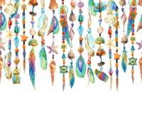 Illustration tirée par la main avec des bijoux de coquille et de perles de mer illustration libre de droits