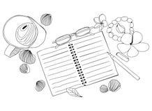 Illustration tirée par la main avec le carnet de papier, tasse de café, glas Image libre de droits
