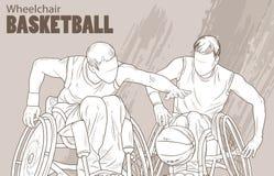 Illustration tirée par la main Basket-ball de fauteuil roulant Sport de croquis de vecteur Silhouette graphique des athlètes hand Photo stock