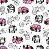 Illustration tirée par la main Bicyclettes, voitures Thème de Paris Images libres de droits