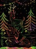 Illustration tirée par la main Cerfs communs, renard, lièvre Photos libres de droits