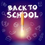 Illustration tirée par la main colorée avec `` Crayon-Rocket `` et globe différent d'icônes d'objets, signes, tasse d'or, télépho Image libre de droits