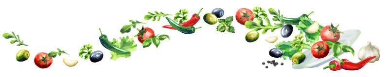 Illustration tirée par la main d'aquarelle d'image panoramique de salade illustration libre de droits