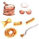Illustration tirée par la main d'aquarelle de différents produits : oeufs frais, farine, différents genres de spaghetti illustration stock