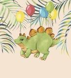 Illustration tirée par la main d'aquarelle de dinosaure mignon de bande dessinée avec les ballons colorés et les feuilles tropica illustration stock
