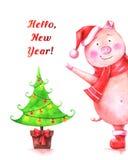 Illustration tirée par la main d'aquarelle de porc drôle dans le chapeau rouge de Santa illustration stock