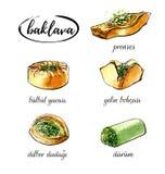 Illustration tirée par la main d'aquarelle de vecteur avec l'ensemble de baklava turque de dessert Image stock