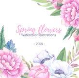 Illustration tirée par la main d'aquarelle Invitation/salutation de mariage Image stock
