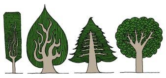 Illustration tirée par la main d'arbres illustration libre de droits
