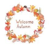 Illustration tirée par la main d'automne d'aquarelle Belle guirlande avec le lettrage illustration de vecteur