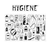 Illustration tirée par la main d'hygiène Oeuvre d'art créative d'encre Dessin réel de bain de vecteur Images libres de droits