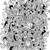 Illustration tirée par la main d'idée de griffonnages mignons de bande dessinée illustration libre de droits