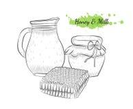 Illustration tirée par la main d'isolement de vecteur de lait et de miel Photographie stock libre de droits