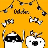 Illustration tirée par la main d'octobre avec la guimauve mignonne dans un masque illustration stock