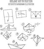 Illustration tirée par la main d'origami de bateau Photographie stock