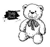 Illustration tirée par la main d'ours de nounours de vecteur Image stock