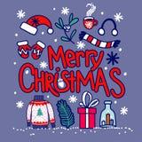 Illustration tirée par la main d'un usage tricoté par Noël : le chapeau du ` s de Santa, chaussette, l'écharpe, mitaines avec un  image stock