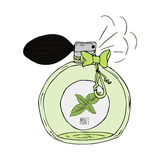 Illustration tirée par la main d'une bouteille de parfum avec le parfum de la menthe illustration de vecteur