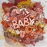 Illustration tirée par la main de bébé de griffonnage de vecteur de bande dessinée Photo stock
