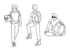 Illustration tirée par la main de bande dessinée de vecteur de sac à dos d'homme de voyageur illustration libre de droits