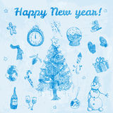 Illustration tirée par la main de bonne année de griffonnage Images bleues, fond bleu-clair d'aquarelle Image libre de droits