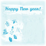 Illustration tirée par la main de bonne année de griffonnage Mitaines, cône de pin, bonhomme en pain d'épice, cierge magique, feu Photographie stock