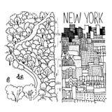 Illustration tirée par la main de Central Park dans NY Image libre de droits