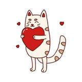 Illustration tirée par la main de chat mignon avec le coeur Images stock