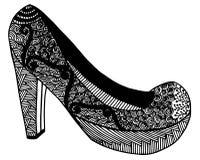 Illustration tirée par la main de chaussure de talon haut Image stock