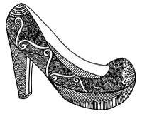 Illustration tirée par la main de chaussure de talon haut Photos stock
