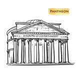 Illustration tirée par la main de construction de vecteur de Rome Panthéon italien de point de repère illustration de vecteur