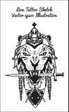 Illustration tirée par la main de croquis de lion Photographie stock
