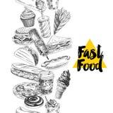 Illustration tirée par la main de fruits de mer de vecteur illustration stock