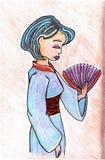 Illustration tirée par la main de geisha Images stock