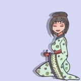 Illustration tirée par la main de geisha Photographie stock