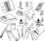 Illustration tirée par la main de griffonnage de vecteur des approvisionnements d'art illustration libre de droits