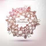 Illustration tirée par la main de guirlande de Noël de gravure Photo stock