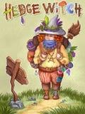 Illustration tir?e par la main de hedgewitch Image mignonne verte d'enfants de concept de sorci?re de randonneur illustration de vecteur