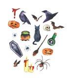 Illustration tirée par la main de Helloween d'aquarelle Ensemble d'accessoires de Helloween illustration de vecteur