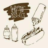 Illustration tirée par la main de hot-dog Photos stock