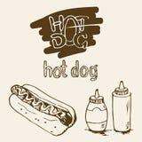 Illustration tirée par la main de hot-dog Photographie stock libre de droits