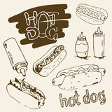 Illustration tirée par la main de hot-dog Photo stock