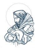 Illustration tirée par la main de Jesus Christ Good Shepherd illustration stock