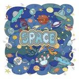 Illustration tirée par la main de l'espace de griffonnages de bande dessinée Détaillés colorés, avec un bon nombre d'objets dirig Photos libres de droits