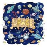 Illustration tirée par la main de l'espace de griffonnages de bande dessinée Détaillés colorés, avec un bon nombre d'objets dirig Photo stock
