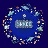 Illustration tirée par la main de l'espace de griffonnages de bande dessinée Détaillés colorés, avec un bon nombre d'objets dirig Image stock