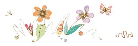 Illustration tirée par la main de libellule de papillon de fleurs Photographie stock libre de droits
