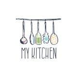Illustration tirée par la main de logo de concept pour la cuisine orientée Photographie stock